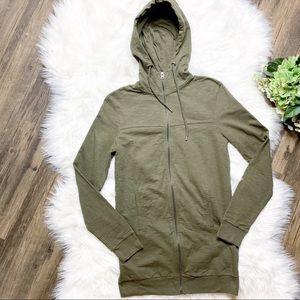 🔥 Topman Forest Green Long Full Zip Hoodie •
